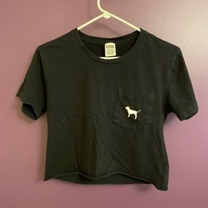 Victoria's Secret PINK Black Tropical Dog T-Shirt